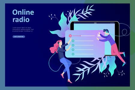 Konzept des Internet-Online-Radio-Streaming-Hörens, Menschen entspannen sich beim Tanzen. Musikanwendungen, Playlist-Online-Songs, Radiosender. Musikblog, Tonstudio. Vorlage für die Zielseite.