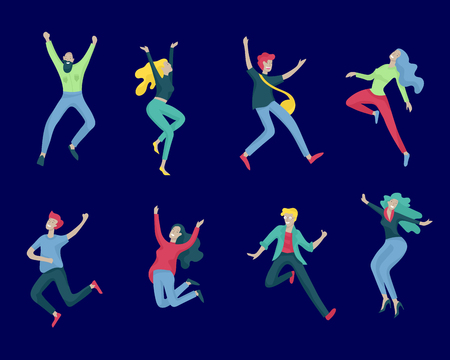 Jumping character in various poses. Group of young joyful laughing people jumping with raised hands. Happy positive young men and women rejoicing together, happiness, freedom, motion people concept. Stock Illustratie