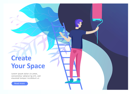 Landing page templates for hobby blog. People enjoying their hobbies, dancing, riding a scooter, paint walls and a picture, play the guitar, cooking. Vector characters