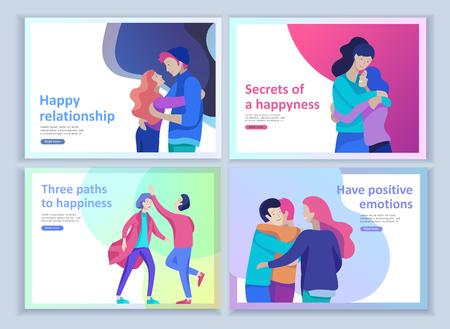 Ensemble de modèles de page de destination pour la psychologie positive, la psychothérapie familiale de groupe. Les amis heureux ont des émotions positives, un chemin vers le bonheur et une compréhension de la vie heureuse avec leurs amis et leurs proches Vecteurs