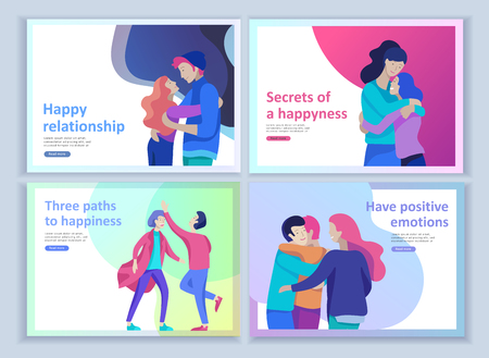 Set of Landing page templates for positive psychology, group family psychotherapy. Happy friends character have positive emotions, way to happiness and happy life munderstanding with friends and loved Иллюстрация