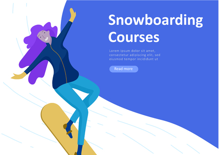 Landing page templates. People dressed in winter clothes or outerwear performing outdoor activities fun. Snow festival, sledding or snowboard. Christmas family ski skating, skiing extreme sport Banque d'images - 114161466