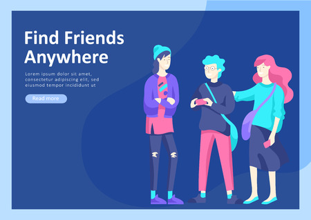 Landing page templates. Vector people happy friends character teenagers with gadgets are walking and chatting, meet new people, chat with old friends and make new. Colorful flat illustration  イラスト・ベクター素材