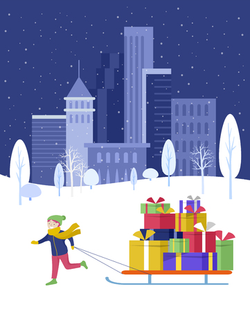 template greeting card winter Holidays. Merry Christmas and Happy New Year Website. Character little girl to drag sleigh with a lot of gifts in park on snowy landscape background