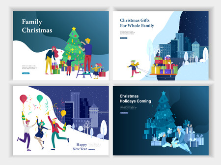 Set of Landing page template or greeting card. Friend celebrates Merry Christmas and Happy New Year party. Girl to drag sleigh with lot gift on urban landscape. Happy family decorating Christmas tree