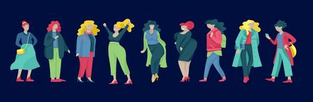 Plus size vrouwen gekleed in stijlvolle kleding. Set van bochtige meisjes die trendy kleding dragen. Gelukkig vrouwelijke stripfiguren. Lichaamspositieve concept illustratie