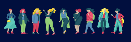 Plus size women dressed in stylish clothing. Set of curvy girls wearing trendy clothes. Happy Female cartoon characters. Bodypositive concept illustration Foto de archivo - 114161569