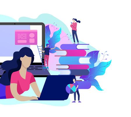 Modèle de page de destination de concept Personnes de l'éducation, études sur Internet, formation en ligne, livre en ligne, tutoriels, apprentissage en ligne pour les médias sociaux, enseignement à distance, documents, cartes, affiches Vecteurs