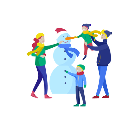 template greeting card winter Holidays. Merry Christmas and Happy New Year Website. People Characters family makes family snowman Standard-Bild - 126757345