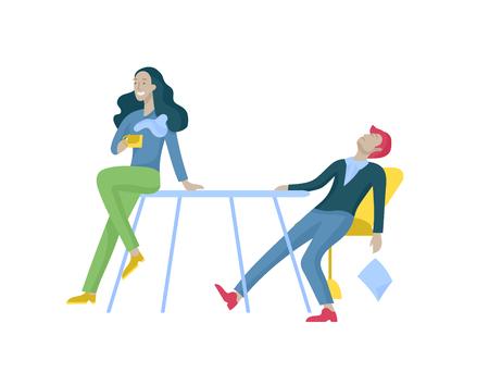 Hommes d'affaires faisant une poignée de main, une étiquette commerciale, des concepts de fusion Employés de bureau, employés ou gestionnaires se parlant, discutant, déprimé Employés de bureau masculins et féminins fatigués assis, dormant Vecteurs