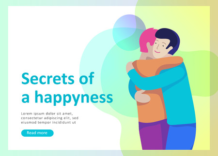 Landing page templates for positive psychology, group family psychotherapy. Happy friends character have positive emotions, way to happiness and happy life munderstanding with friends and loved