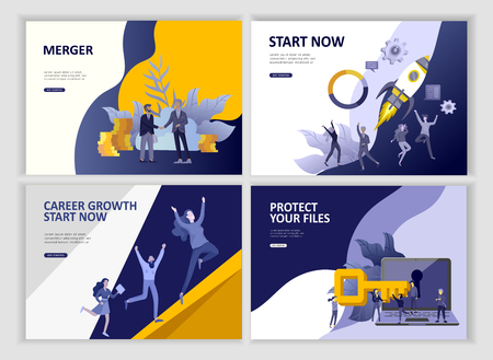 Set Landing page template people business app, file protection merger, focus group research and career growth cooming soon start up and solution. Vector illustration concept website mobile development Illustration