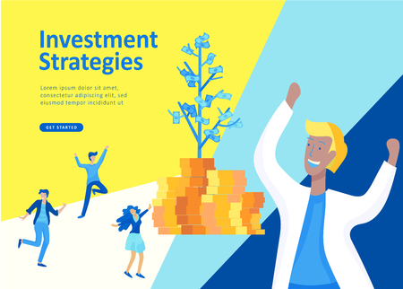Set Landing page template people business scheduling app, strategic planning merger, investment strategies, career growth, research and development. Vector illustration concept website mobile Иллюстрация