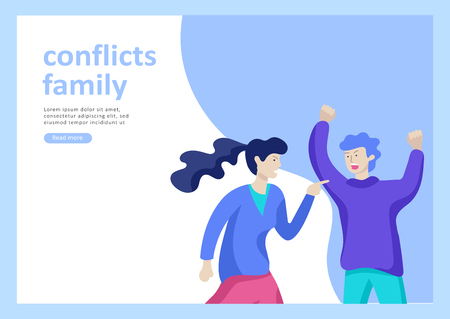 Landing page templates for psyhology mental problems, depression panic attacks, paranoia anger control, relationship family conflict, stress and misunderstanding, psychotherapy character Stock Vector - 114161682