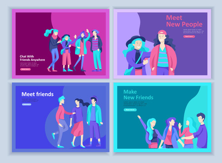 Set of Landing page templates. Vector people happy friends character teenagers with gadgets are walking and chatting, meet new people, chat with old friends and make new. Colorful flat illustration