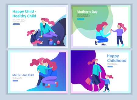 Set of Landing page templates for happy mothers day, child health care, happy childhood and children, goods and entertainment for mother with children. Parents with daughter and son have fun togethers