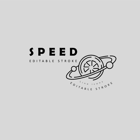 Vector icon and logo for speed motion. Editable outline stroke size. Line flat contour, thin and linear design. Simple icons. Concept illustration. Sign, symbol, element.
