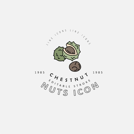 Vector icon and logo for nuts and seeds. Editable outline stroke size. Line flat contour, thin and linear design. Simple icons. Concept illustration. Sign, symbol, element. Vectores
