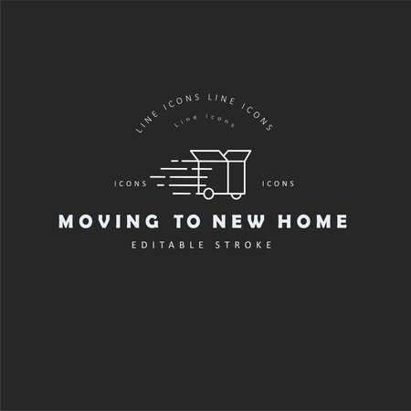 Vector icon and logo for moving to a new home. Editable outline stroke size. Line flat contour, thin and linear design. Simple icons. Concept illustration. Sign, symbol, element.