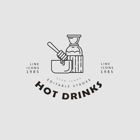 Vector icon and logo hot drinks for cold weather, merry Christmas and Happy New Year . Editable outline stroke size. Line flat contour, thin and linear design. Simple icons. Concept illustration. Sign, symbol, element.