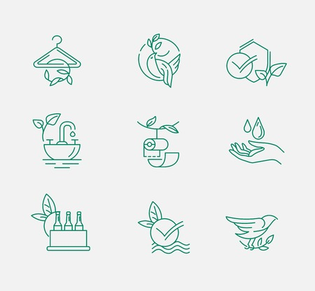 Vector icon and logo for environmental protection and recycling. Editable outline stroke size. Line flat contour, thin and linear design. Simple icons. Concept illustration. Sign, symbol, element. Vectores