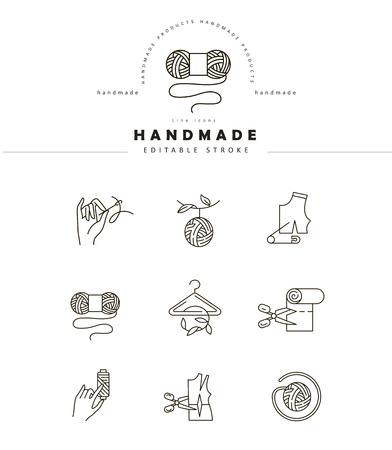 Wektor ikona i logo do szycia i ręcznie robione. Edytowalny rozmiar obrysu konturu. Płaski kontur linii, cienka i liniowa konstrukcja. Proste ikony. Ilustracja koncepcja. Znak, symbol, element. Logo