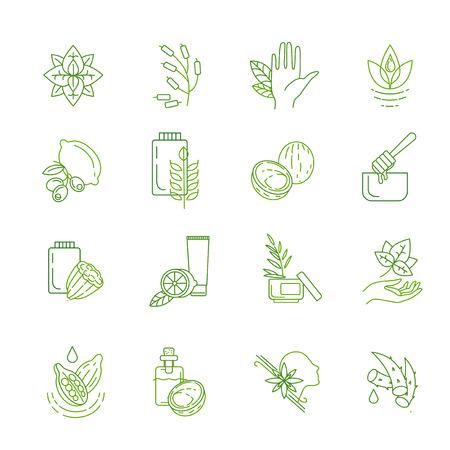 Icona vettoriale e logo per cosmetici naturali e cura della pelle secca. Dimensione del tratto modificabile del contorno. Linea contorno piatto, design sottile e lineare. Icone semplici. Illustrazione di concetto. Segno, simbolo, elemento.