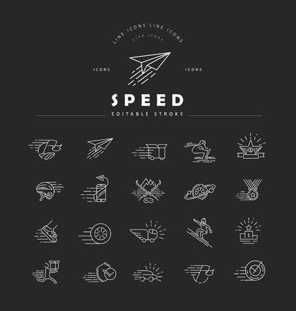Vector icon and logo for speed motion. Editable outline stroke size. Line flat contour, thin and linear design. Simple icons. Concept illustration. Sign, symbol, element. Stock fotó - 114162066