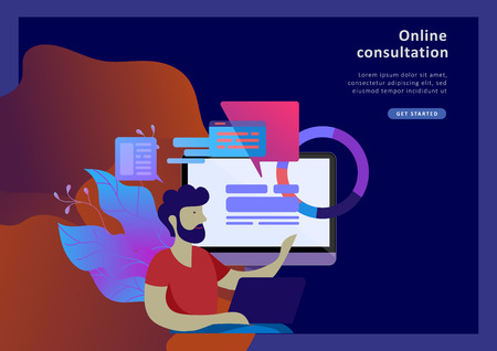 Concept Landing page template customer service, male hotline operator advises client, online global technical support, customer and operator Çizim