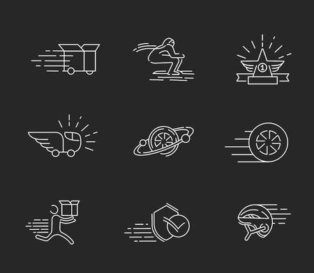 Wektor ikona i logo dla prędkości ruchu. Edytowalny rozmiar obrysu konturu. Płaski kontur linii, cienka i liniowa konstrukcja. Proste ikony. Ilustracja koncepcja. Znak, symbol, element.
