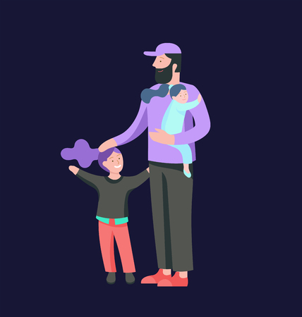 Vector people character. Father and him child spending time together, happy male parent. Colorful flat concept illustration. Stock Vector - 126680580