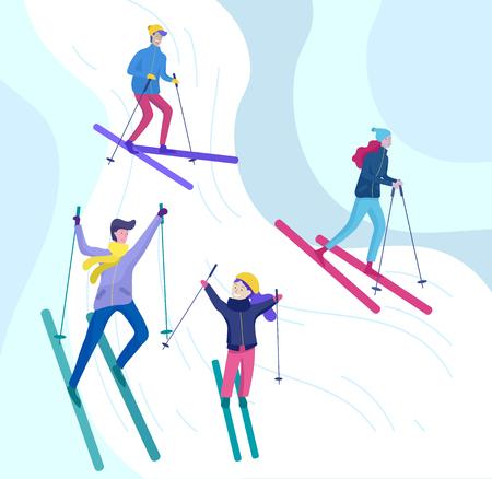 Personas vestidas con ropa de invierno o ropa de abrigo realizando divertidas actividades al aire libre. Festival de la nieve, trineos y snowboard. Navidad, familia, esquí, patinaje, esquí, invierno, deporte extremo Ilustración de vector
