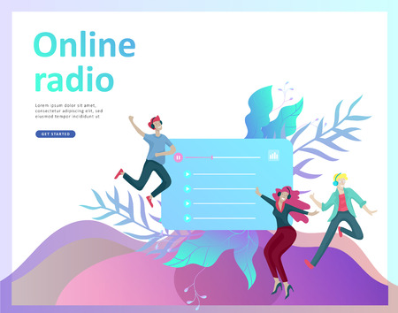 Concept of internet online radio streaming listening, people relax listen dance. Music applications, playlist online songs, radio station. Music blog, sound recording studio. Landing page template.  イラスト・ベクター素材