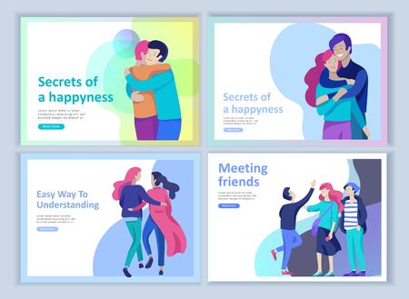 Conjunto de plantillas de página de destino para psicología positiva, psicoterapia familiar grupal. El carácter de los amigos felices tiene emociones positivas, camino a la felicidad y una vida feliz que comprende a los amigos y a los amados.