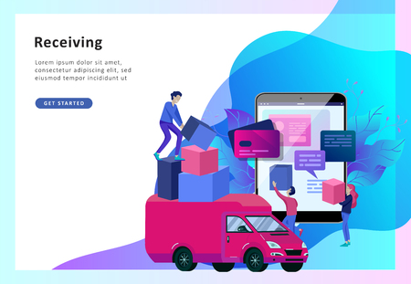 Vector illustration business concept, online store, buying and selling, goods delivery, flat style, online shopping, receiving a check through the phone