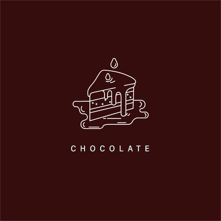 Vector icon and logo for chocolate and sweet. Editable outline stroke size. Line flat contour, thin and linear design. Simple icons. Concept illustration. Sign, symbol, element. Illustration