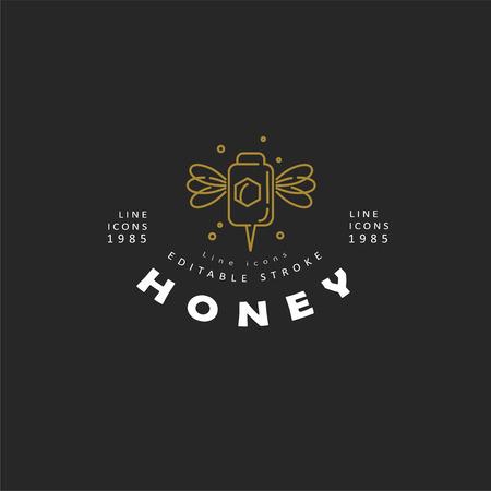 Vector icon and logo honey. Editable outline stroke size. Line flat contour, thin and linear design. Simple icons. Concept illustration. Sign, symbol, element. Ilustração
