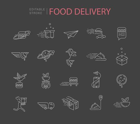 Icona di vettore e logo per il cibo online deliwery. Dimensione del tratto del contorno modificabile. Linea contorno piatto, design sottile e lineare. Icone semplici. Illustrazione di concetto. Segno, simbolo, elemento.