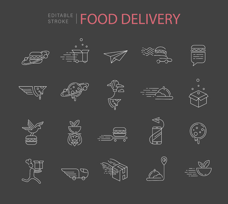 Vectorpictogram en embleem voor voedsel online deliwery. Bewerkbare omtreklijngrootte. Lijn platte contour, dun en lineair ontwerp. Eenvoudige pictogrammen. Concept illustratie. Teken, symbool, element.