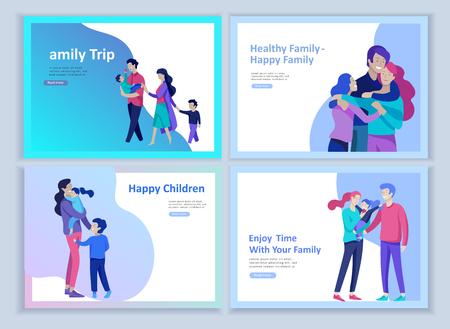 Conjunto de plantillas de página de destino familia feliz, viajes y psicoterapia, cuidado de la salud familiar, entretenimiento de bienes para la madre, el padre y sus hijos. Los padres con hija e hijo se divierten juntas