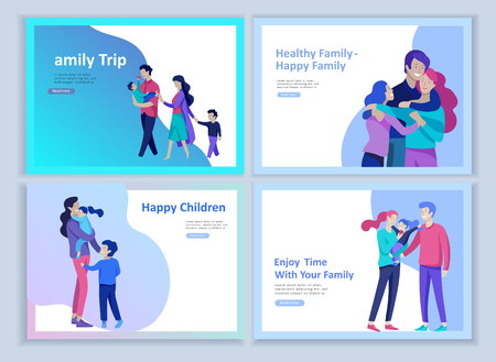 Set of Landing page templates happy family, travel and psychotherapy, family health care, goods entertainment for mother father and their children. Parents with daughter and son have fun togethers Stock fotó - 114162733