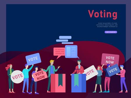 Concepto de votación y elección. Campaña preelectoral. Promoción y publicidad de candidato. Ciudadanos debatiendo candidatos para votar y votar Voto en línea y concepto de elección con personas. Ilustración de vector