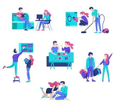 Everyday routine scenes and spend time together of young romantic couple. Pair of boy and girl cleaning up house, cooking food, washing clothes. Vector people character. Editable outline stroke size. Colorful flat concept illustration. Banco de Imagens - 126680659