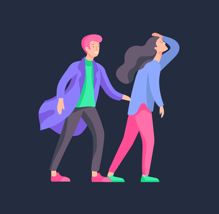 Vector people in bad emotions, character in conflict, angry or tired and in stress. Aggressive people yell at each other. Colorful flat concept illustration. Zdjęcie Seryjne - 126680662
