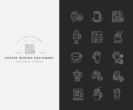 Vector icon and logo for coffee making equipment. Editable outline stroke size. Line flat contour, thin and linear design. Simple icons. Concept illustration. Sign, symbol, element. Banco de Imagens - 114162827
