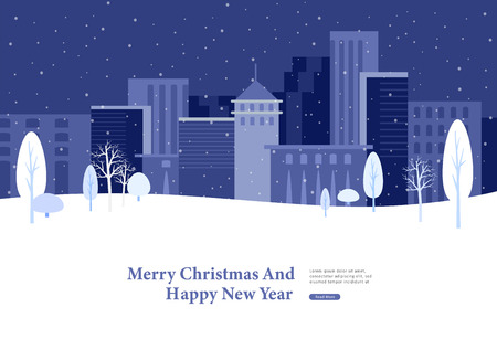 Landing page template or greeting card winter Holidays. Merry Christmas and Happy New Year Website with background Urban winter snowy park landscape