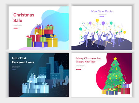 Set of landing page or greeting card templates. A friend or colleagues celebrates Merry Christmas, Happy New Year corporate party, Happy family decorating the Christmas tree with gift on the cityscape
