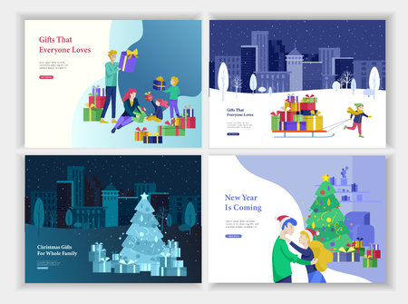 Set of Landing page template or greeting card. Happy family give, unpack gift. Merry Christmas, Happy New Year Character romantic couple in love. Girl to drag sleigh with lot gift on urban landscape