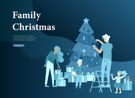 Landing page template greeting card winter Holidays. Merry Christmas and Happy New Year Website. People Characters family with present decorating Christmas tree on background of interior living room Illustration