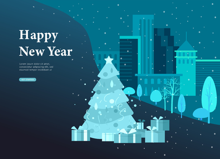 Landing page template or greeting card winter Holidays. Merry Christmas and Happy New Year Website with Christmas tree and gift on background Urban winter snowy park landscape